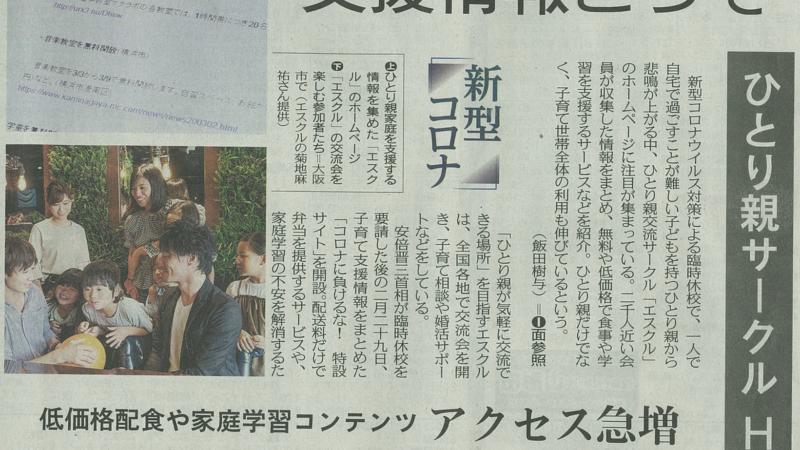 東京新聞に取り上げられました コロナに負けるな‼応援特設ページ