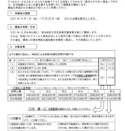 世帯主13,000円、家族1名3,000円加算の援護金(静岡市)